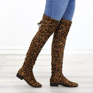Leopard Suede Thigh High Flat Boot Lace Up Back
